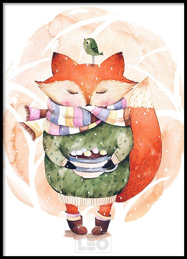 Tranh lẻ canvas winter fox