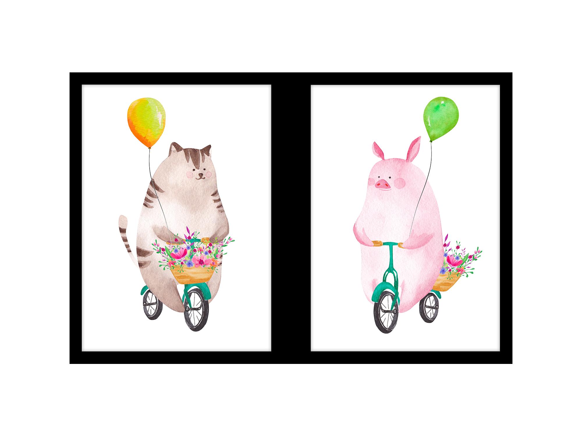 Tranh trang trí phòng trẻ em Pig and bicycle