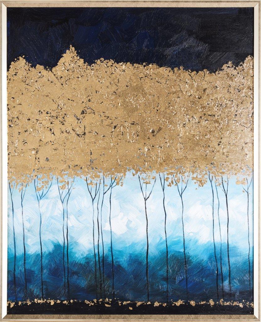 Tranh sơn dầu dát vàng Golden forest
