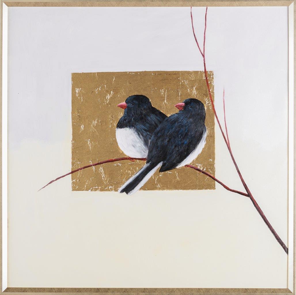Tranh sơn dầu dát vàng Bird Song