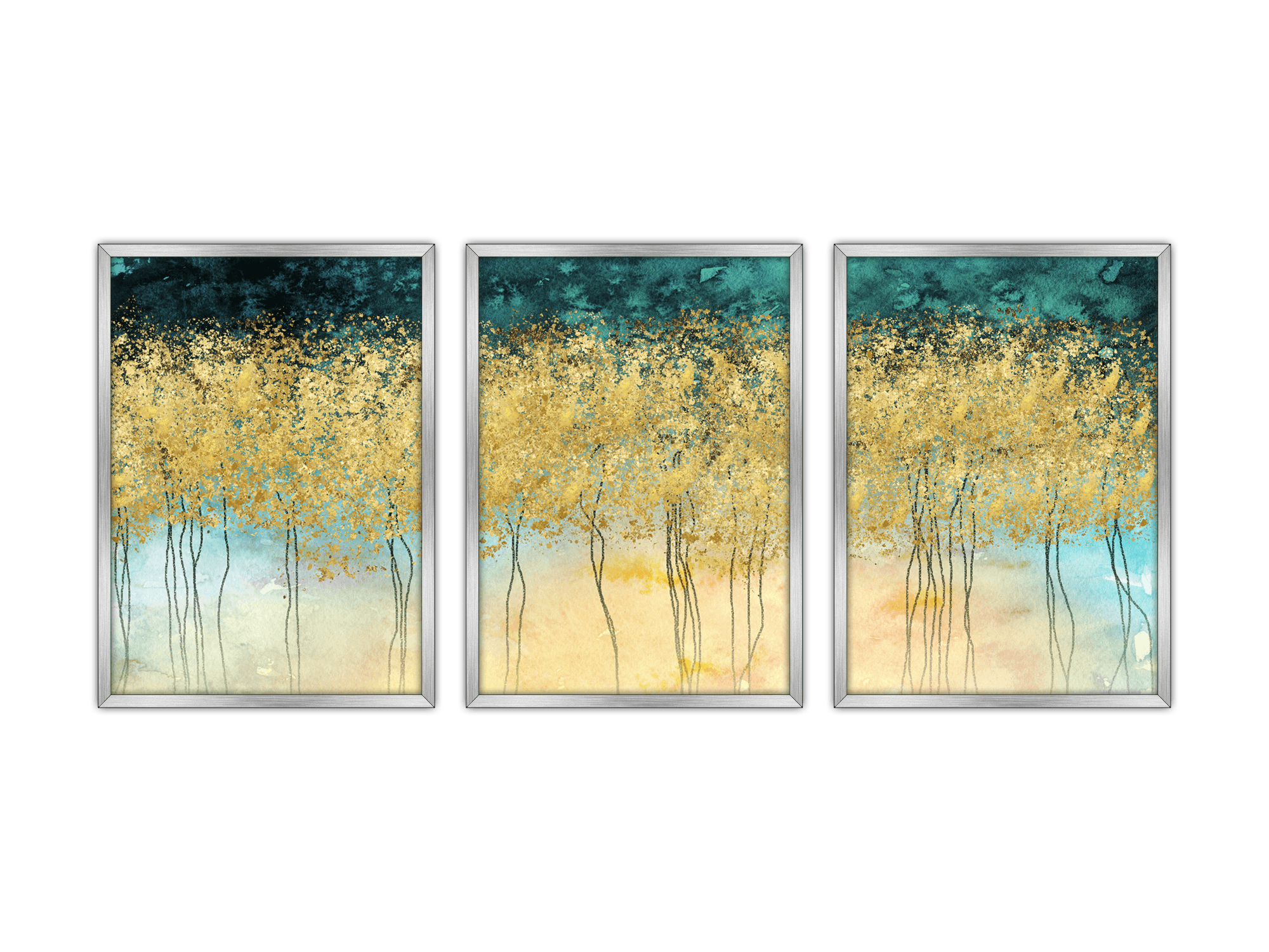 Gold Art Abstract Forest 2