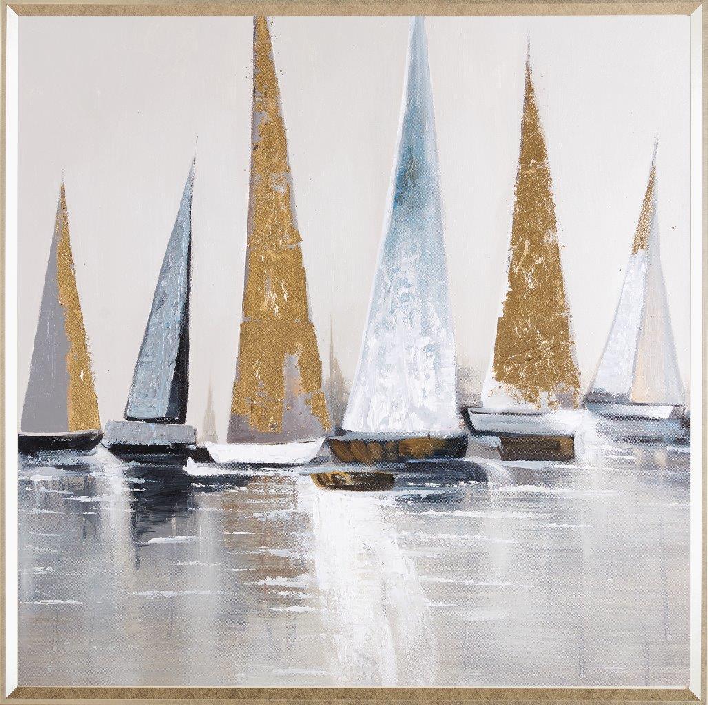Tranh sơn dầu dát vàng Sailing free