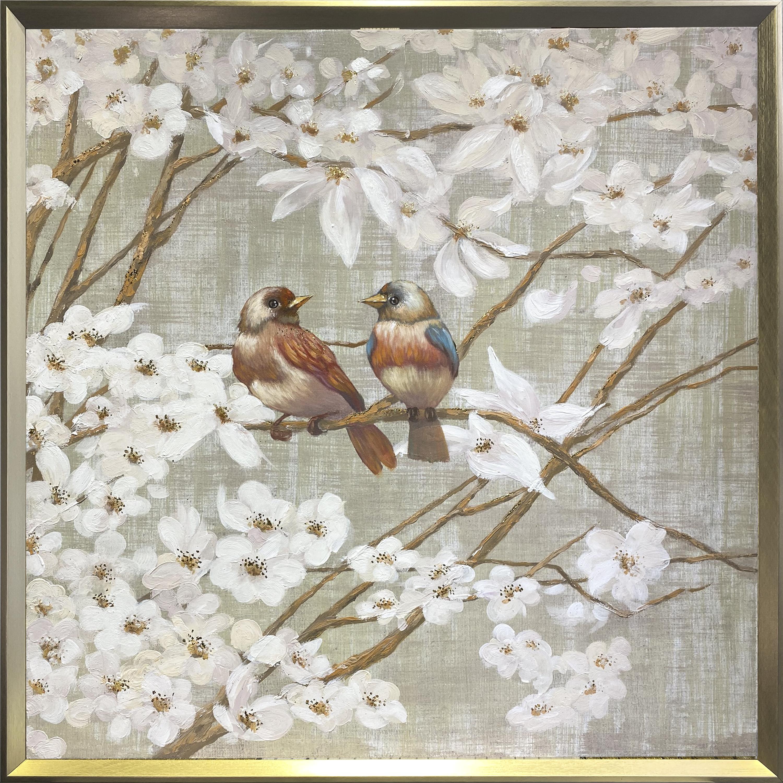Tranh sơn dầu dát vàng Spring blue bird 2